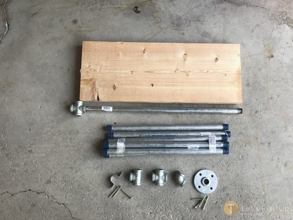 "1/2"" Galvanized pipe, pipe fittings (1/2"" elbows, t-joints, base plate) 2"" grabber screws"